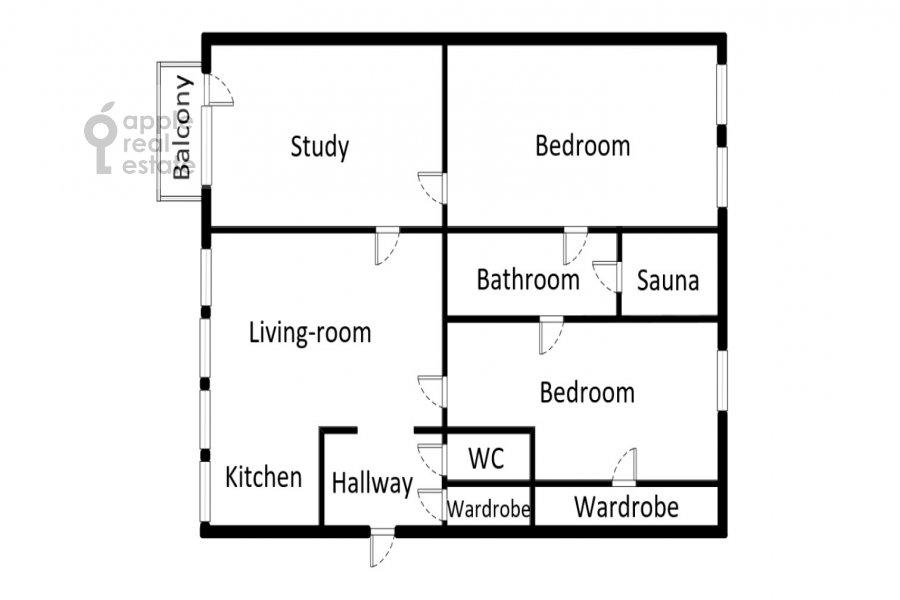 Floor plan of the 4-room apartment at Arbat ul. 43