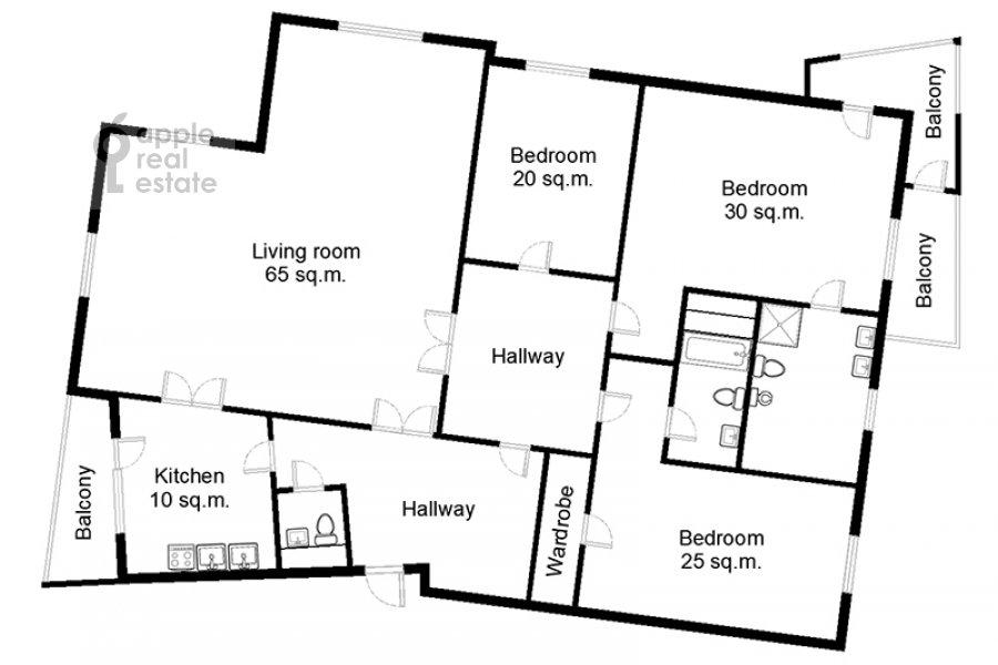 Floor plan of the 4-room apartment at Lesnaya ul. 6k1