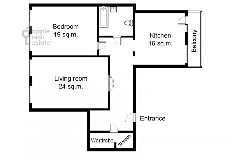 Floor plan of the 2-room apartment at Tverskaya ul. 6s1