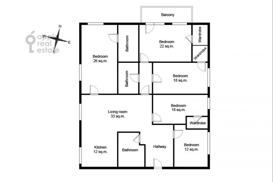 Поэтажный план 6-комнатной квартиры по адресу Островитянова 6