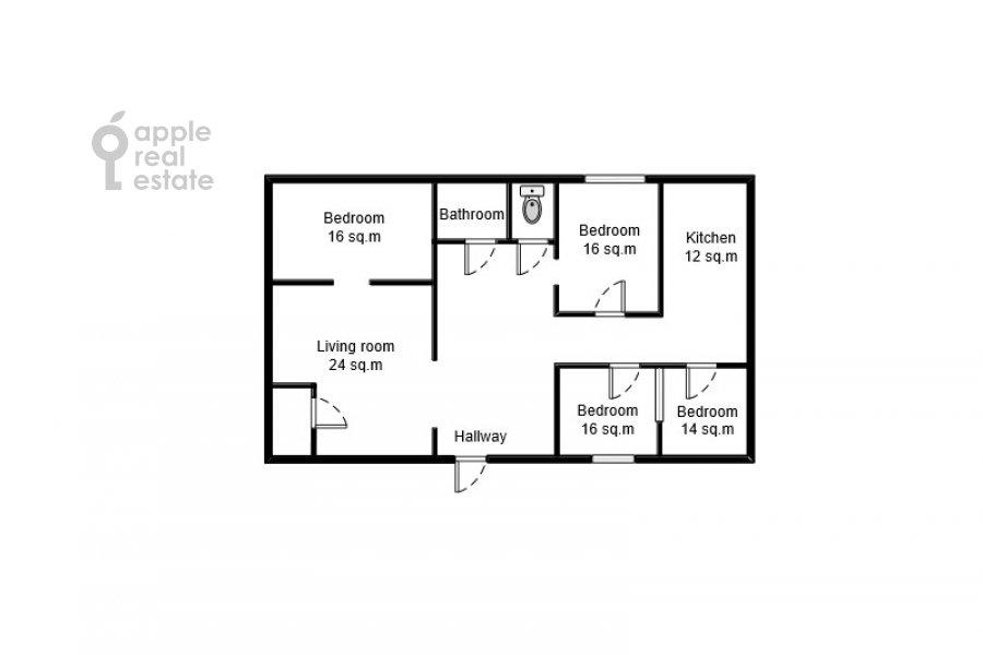Floor plan of the 5-room apartment at Serafimovicha ul. 2