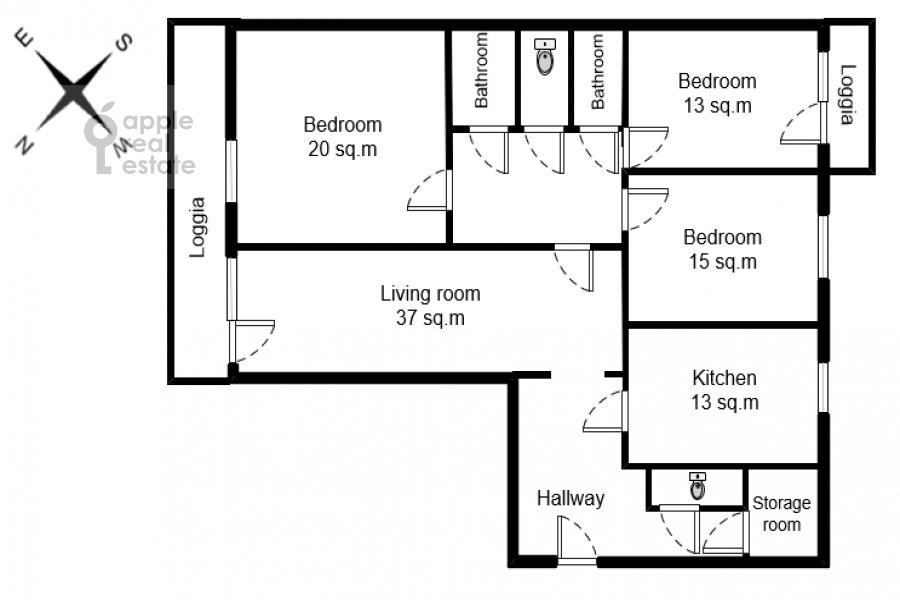 Поэтажный план 4-комнатной квартиры по адресу Якиманка Большая ул. 26