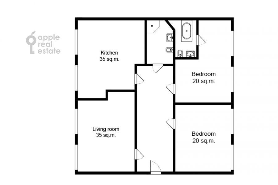 Floor plan of the 3-room apartment at Tverskaya ul. 12s8