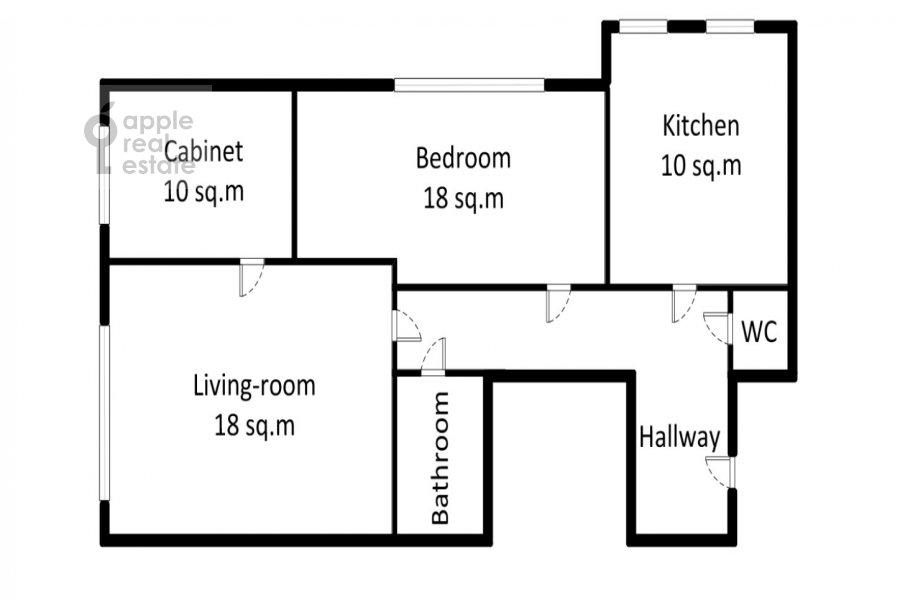 Floor plan of the 3-room apartment at Trekhprudnyy per. 6