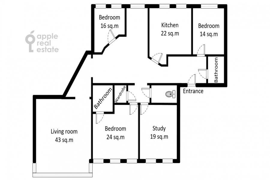 Floor plan of the 5-room apartment at Afanas'evskiy Bol'shoy per. 41