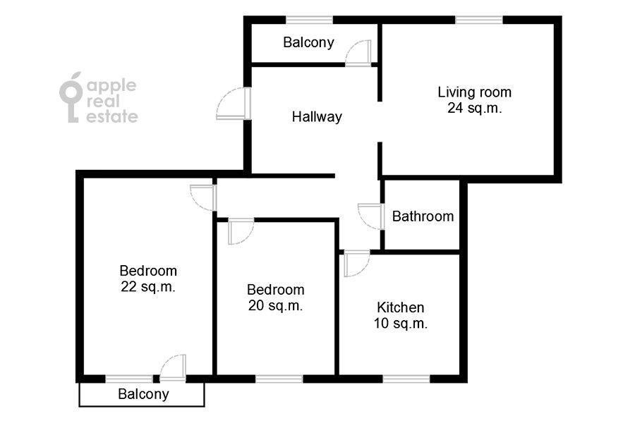 Поэтажный план 3-комнатной квартиры по адресу Андроньевская Большая ул. 25/33