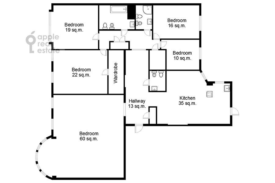 Поэтажный план 5-комнатной квартиры по адресу Кривоколенный пер. 14