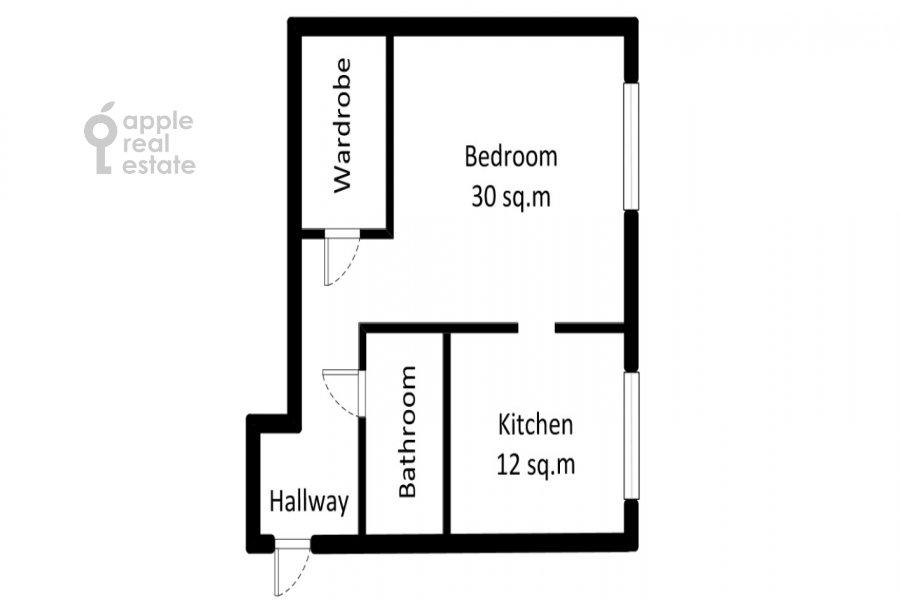 Поэтажный план 1-комнатной квартиры по адресу Леонтьевский пер. 15
