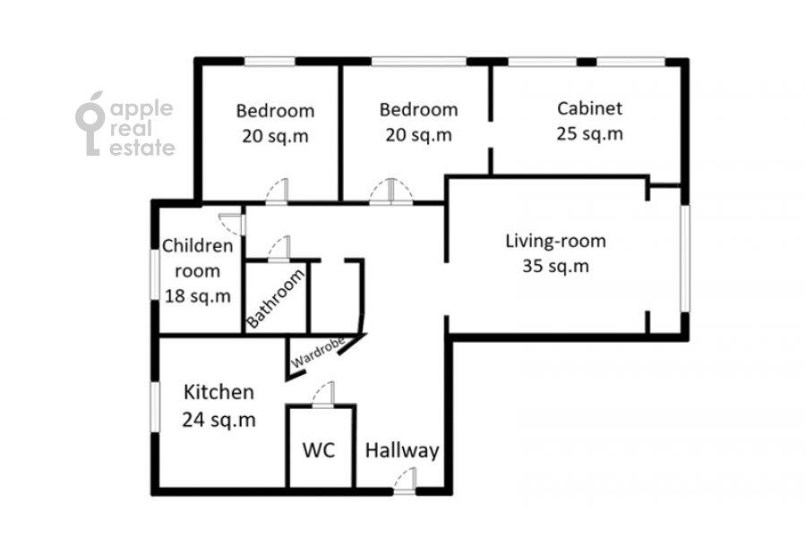 Floor plan of the 5-room apartment at Marshala Vasilevskogo 13k3