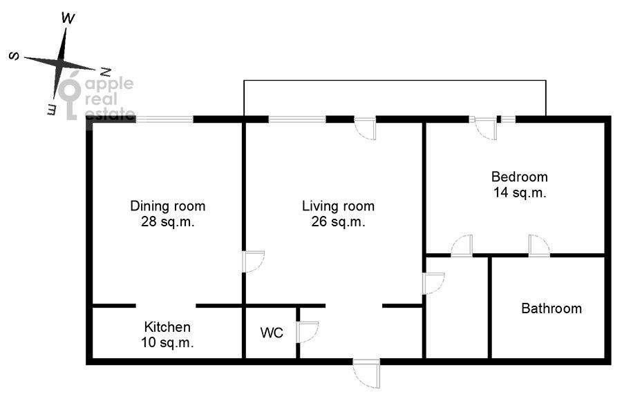 Floor plan of the 3-room apartment at Raspletina ul. 14