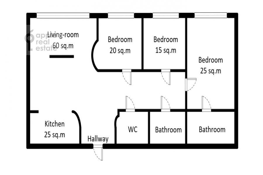 Поэтажный план 4-комнатной квартиры по адресу Новопесковский Малый пер. 8