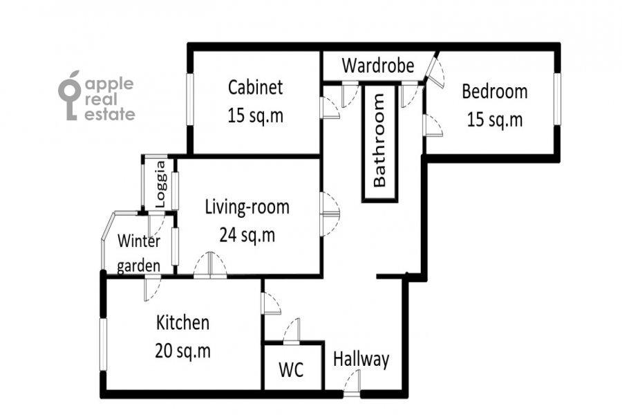 Floor plan of the 3-room apartment at Leninskiy  pr-t. 137k1