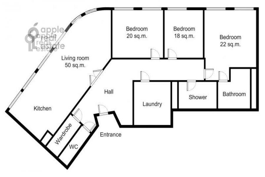 Floor plan of the 6-room apartment at Tsvetnoy bul. 16/1