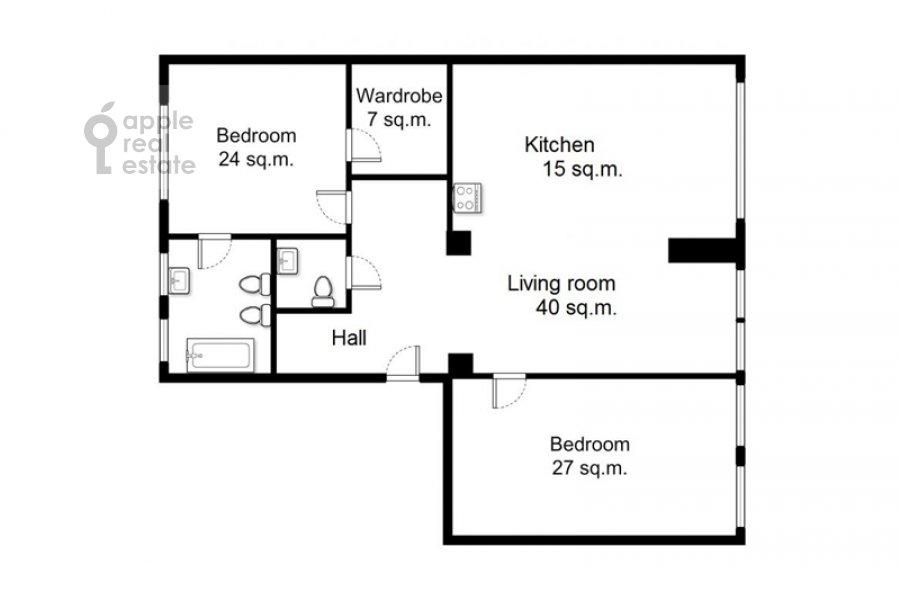 Поэтажный план 3-комнатной квартиры по адресу Ленинградский проспект 2