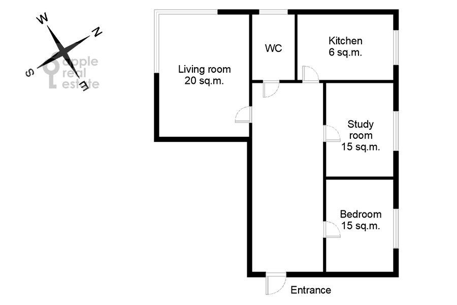 Поэтажный план 3-комнатной квартиры по адресу Ленинградский пр-т. 26к1