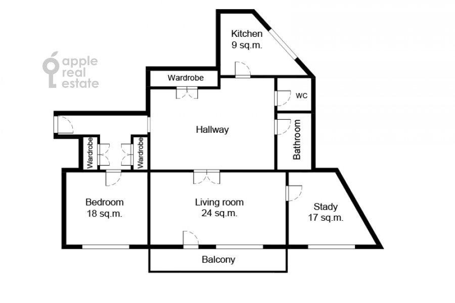 Поэтажный план 3-комнатной квартиры по адресу Газетный пер. 13