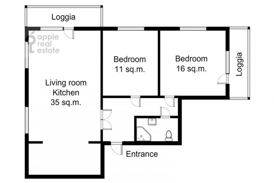 Поэтажный план 3-комнатной квартиры по адресу Новый 2-й пер. 4