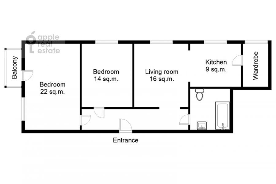 Поэтажный план 3-комнатной квартиры по адресу Ленинский просп. 72/2