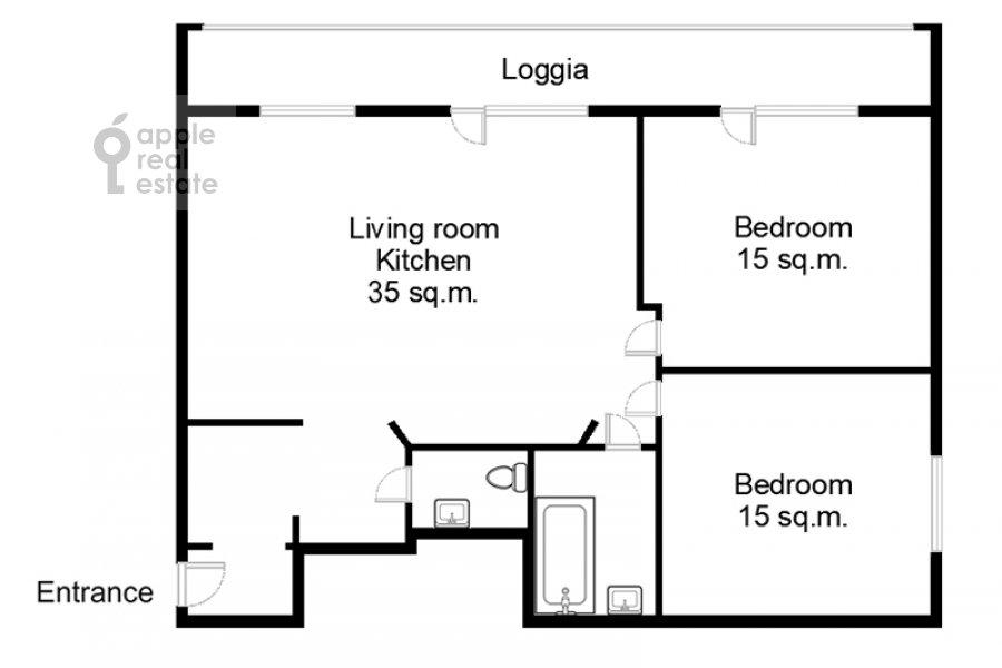 Поэтажный план 3-комнатной квартиры по адресу Бахрушина ул. 4с1
