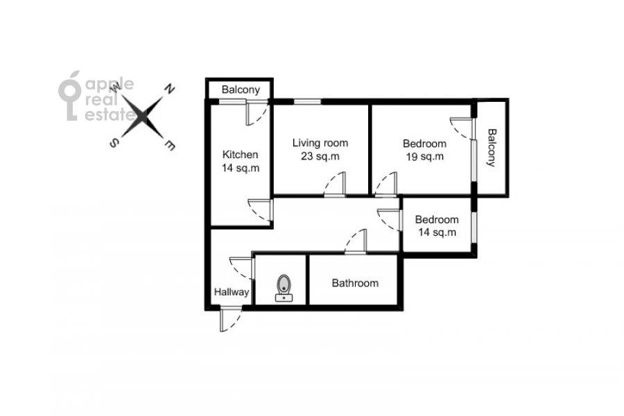Floor plan of the 3-room apartment at Krasnosel'skaya Verkhnyaya ul. 9