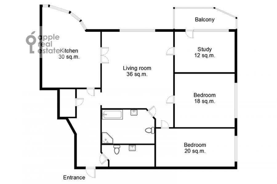 Поэтажный план 4-комнатной квартиры по адресу ЖК Корона пр Вернадского 92