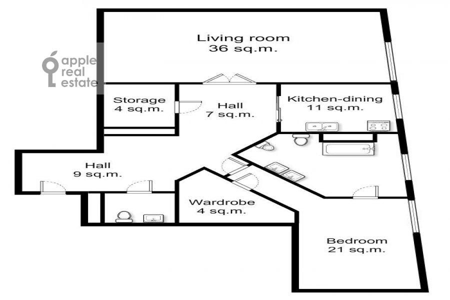 Floor plan of the 2-room apartment at Barykovskiy per. 6