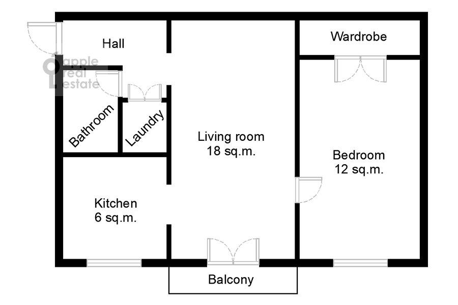 Поэтажный план 2-комнатной квартиры по адресу Гончарный пр. 6к1