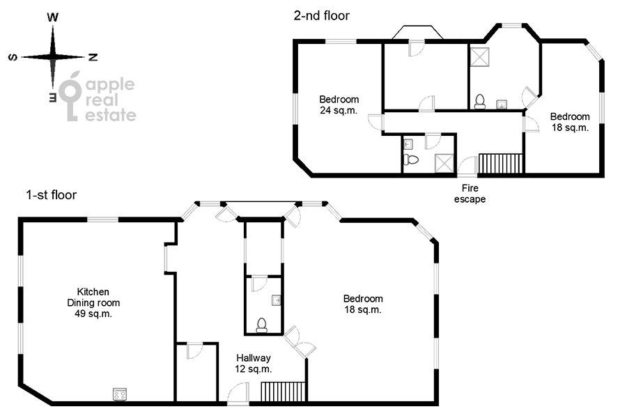 Floor plan of the 4-room apartment at Gilyarovskogo ul. 4/1