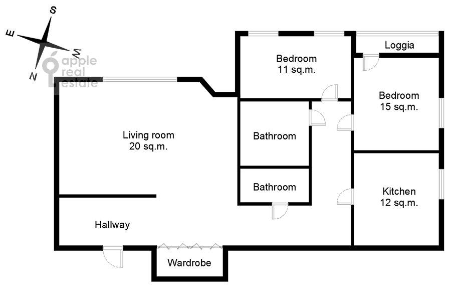 Поэтажный план 3-комнатной квартиры по адресу Клары Цеткин 18бк1