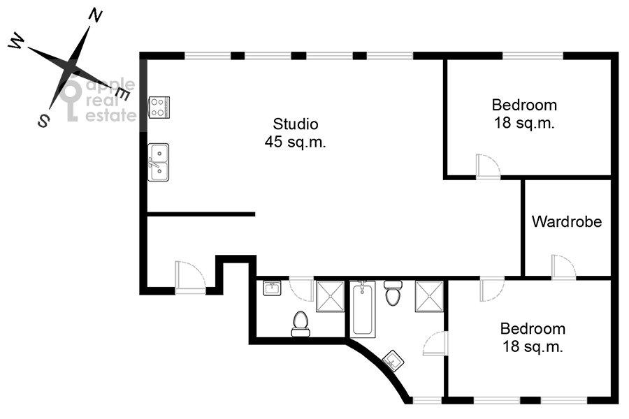 Floor plan of the 3-room apartment at Kozikhinskiy Malyy per. 12
