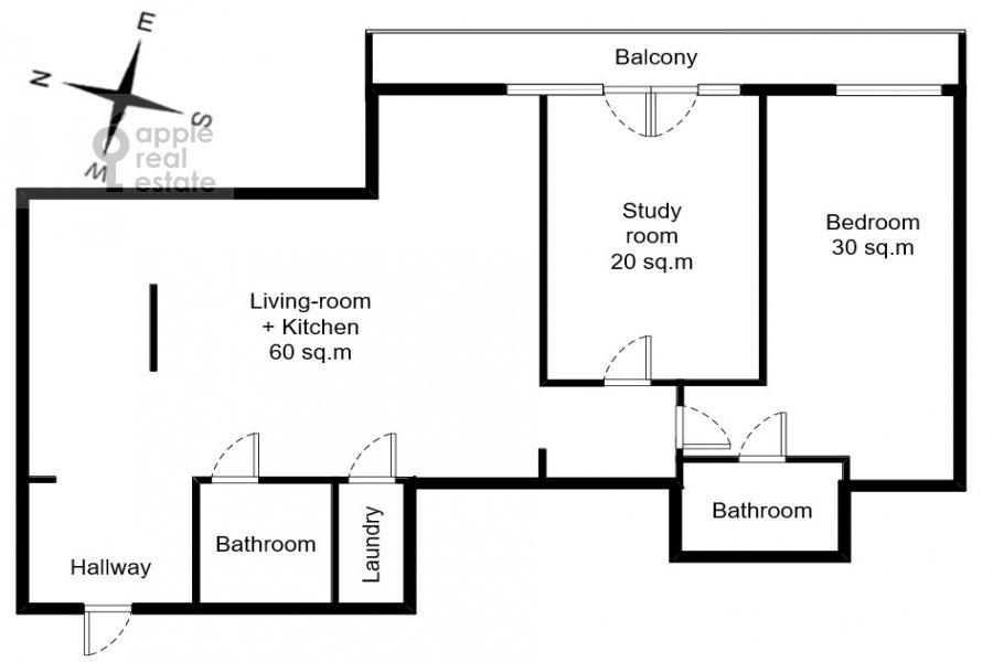 Floor plan of the 3-room apartment at Bol'shaya Gruzinskaya ul. 69