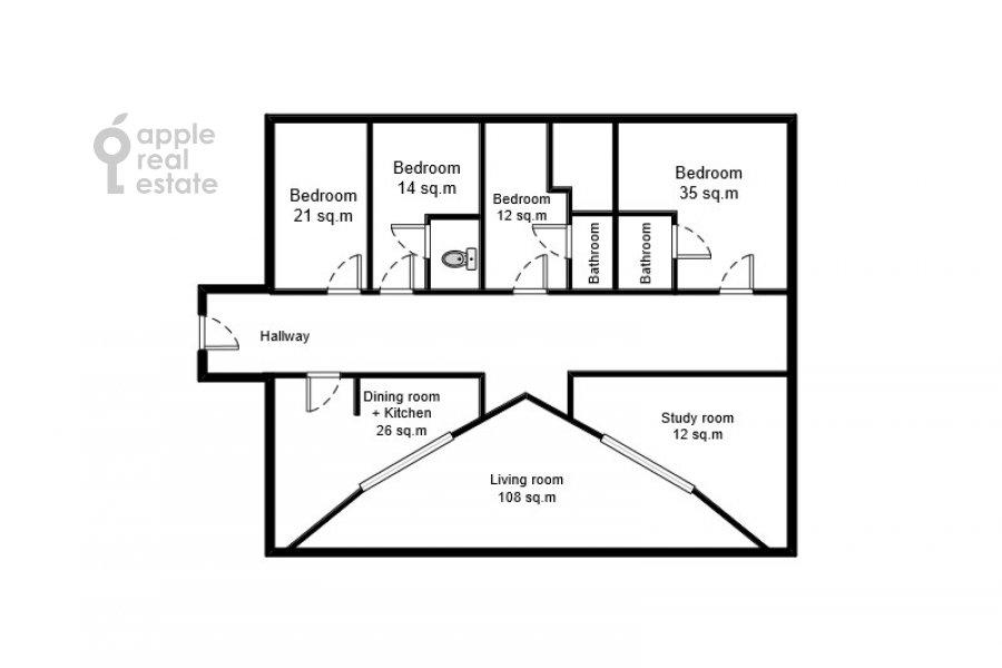 Floor plan of the 6-room apartment at Sretenskiy bul'v. 6/1