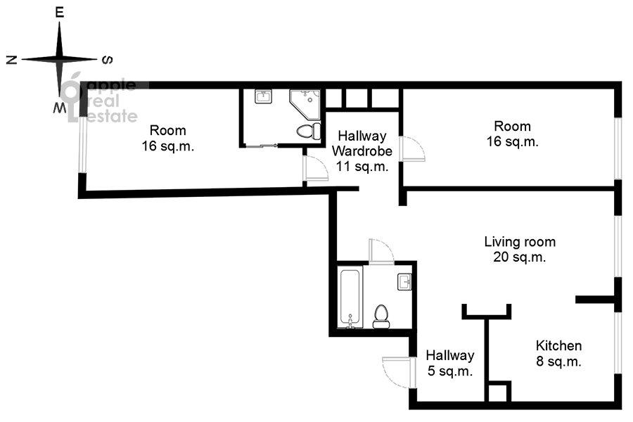 Поэтажный план 3-комнатной квартиры по адресу Хорошевское шоссе 12с1
