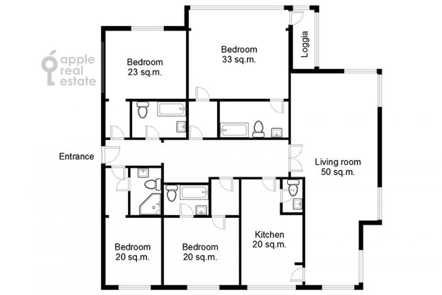 Поэтажный план 5-комнатной квартиры по адресу Ленинский просп. 114
