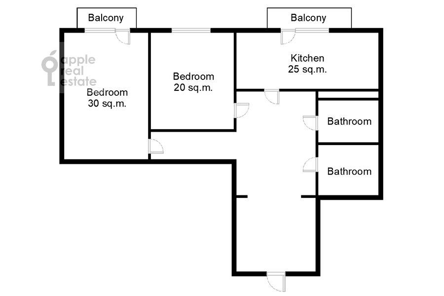Поэтажный план 2-комнатной квартиры по адресу Ленинский пр-т. 37