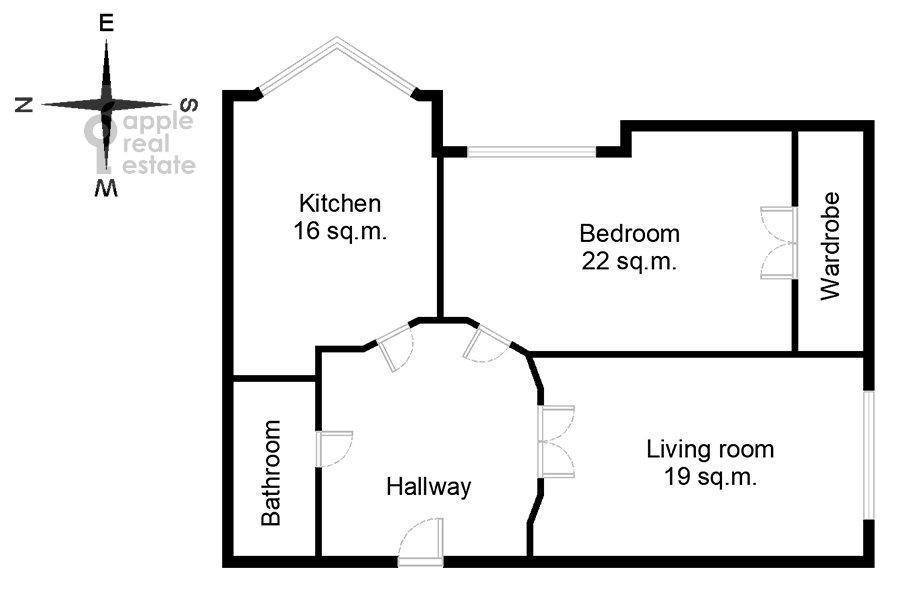 Floor plan of the 2-room apartment at Khoroshevskoe shosse 16k2