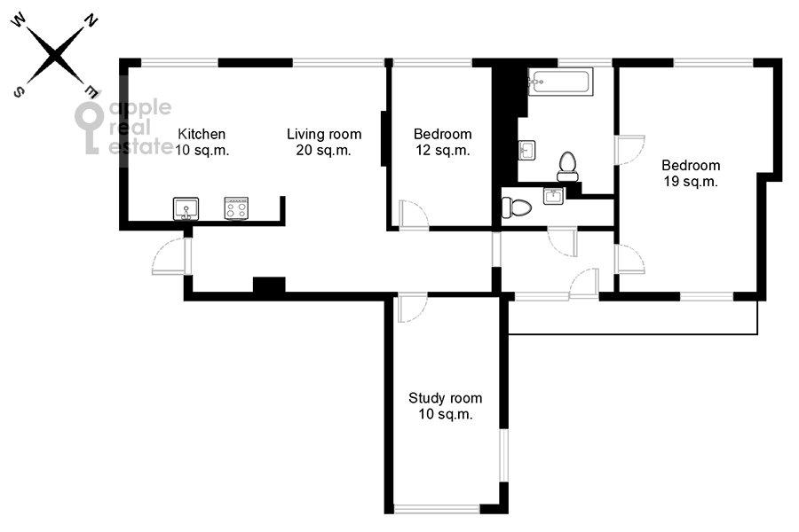 Поэтажный план 4-комнатной квартиры по адресу Бронная Большая ул. 29