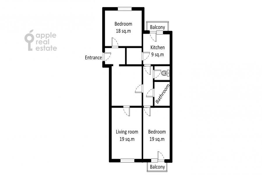 Поэтажный план 3-комнатной квартиры по адресу Тверская ул. 15