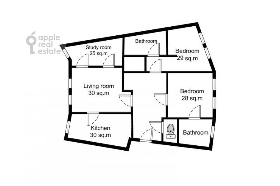 4-комнатная квартира по адресу Молочный пер. 1