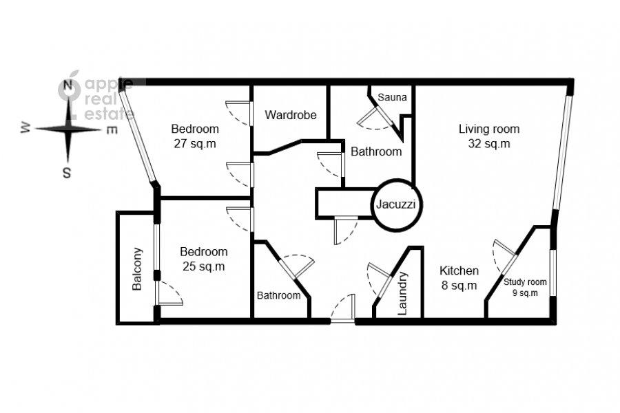 Floor plan of the 4-room apartment at Leninskiy prosp. 98k1
