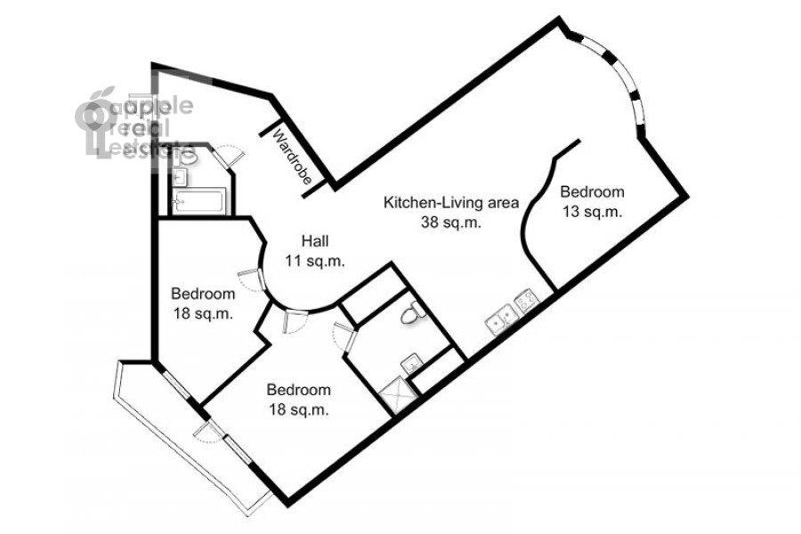 Floor plan of the 4-room apartment at Neopalimovskiy 1-y per. 8