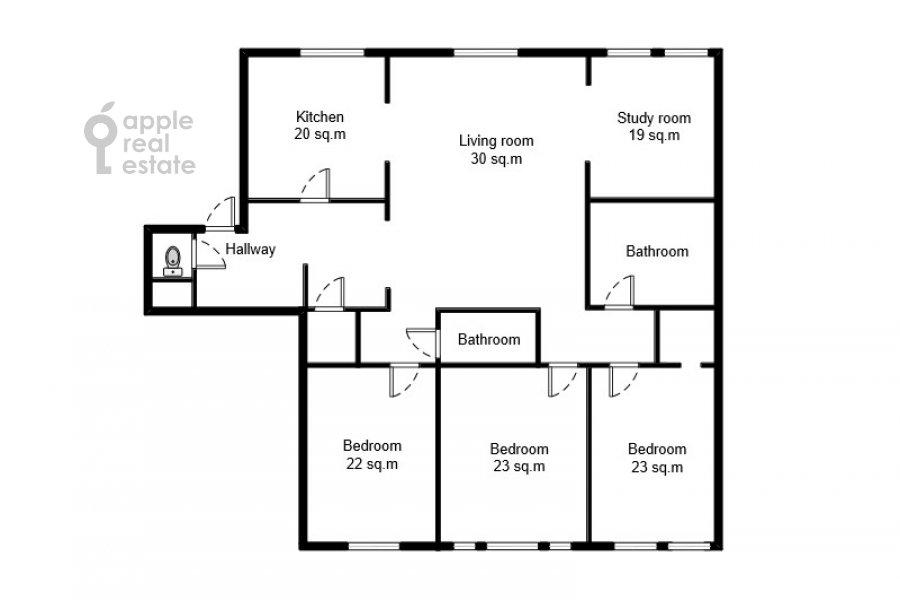 Floor plan of the 5-room apartment at Sechenovskiy pereulok 7