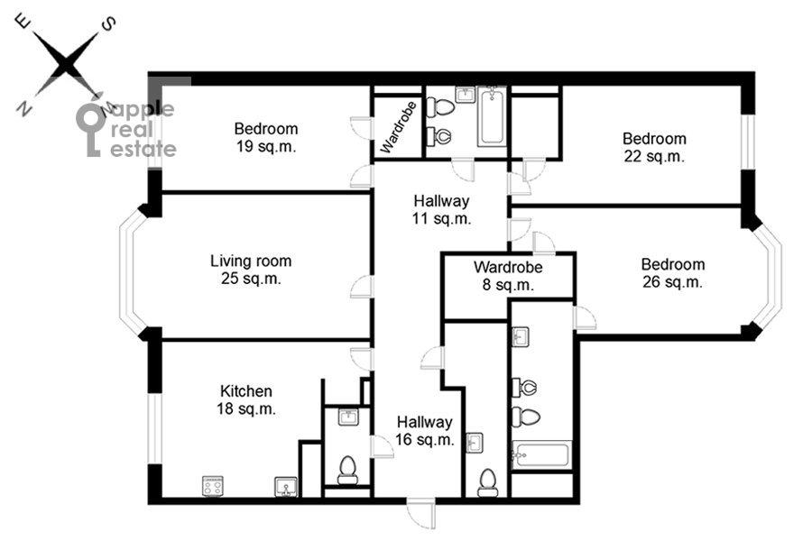 Floor plan of the 4-room apartment at 3-ya Tverskaya-Yamskaya ulitsa 25
