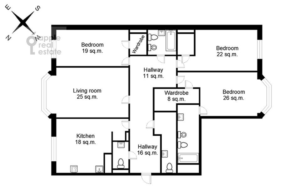 Поэтажный план 4-комнатной квартиры по адресу Тверская-Ямская 3-я ул. 25