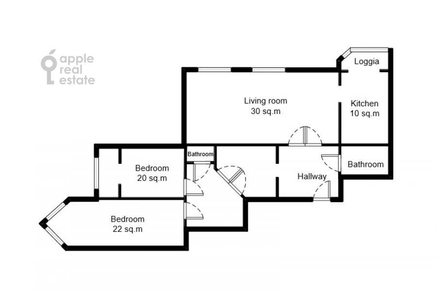 Поэтажный план 3-комнатной квартиры по адресу Вавилова ул. 97