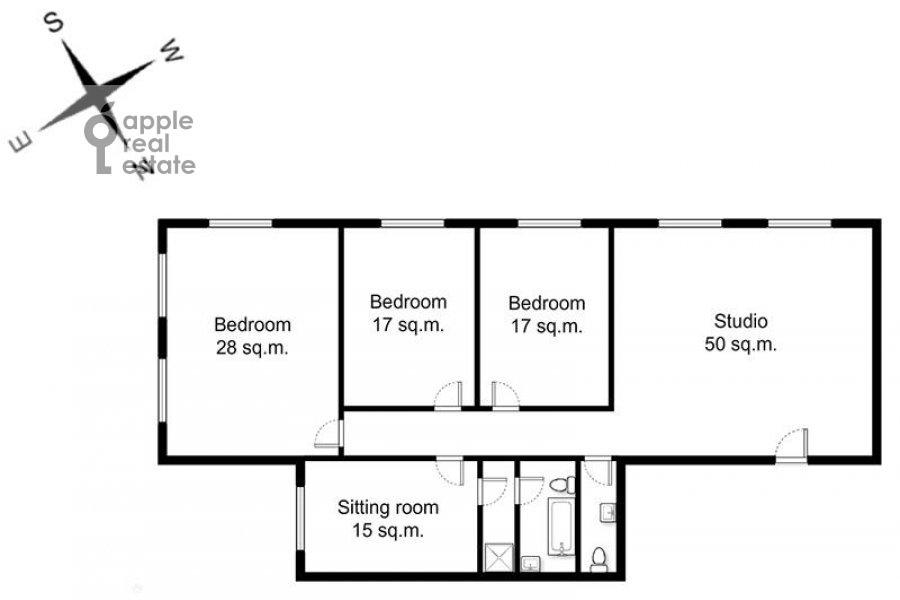 Floor plan of the 4-room apartment at Povarskaya ul. 18