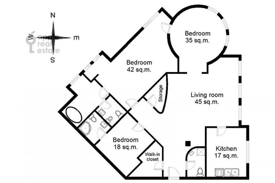 Поэтажный план 4-комнатной квартиры по адресу Плющиха ул. 22
