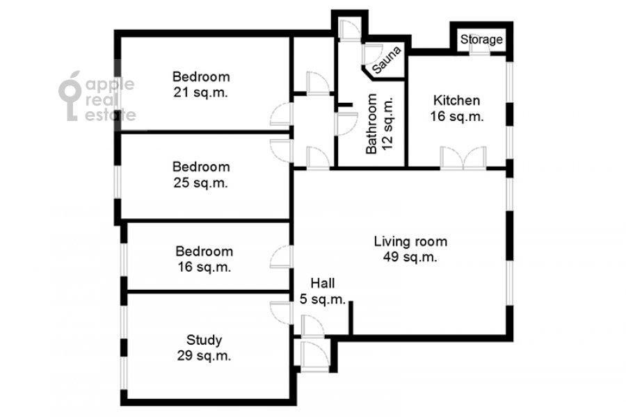 Поэтажный план 5-комнатной квартиры по адресу Сретенский бульв. 6/1