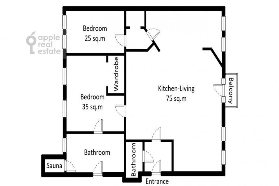 Floor plan of the 3-room apartment at Ordynka Bol'shaya ul. 67