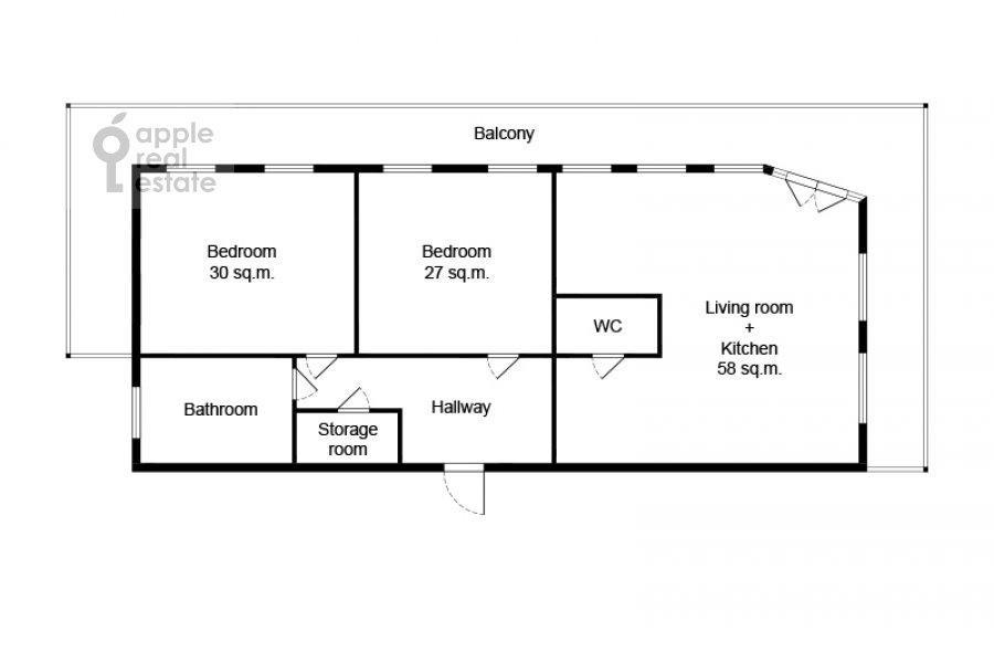 Floor plan of the 3-room apartment at Krivoarbatskiy per. 16/22